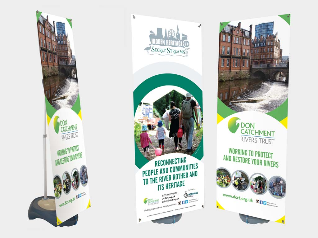 Outdoor weather proof banner stands