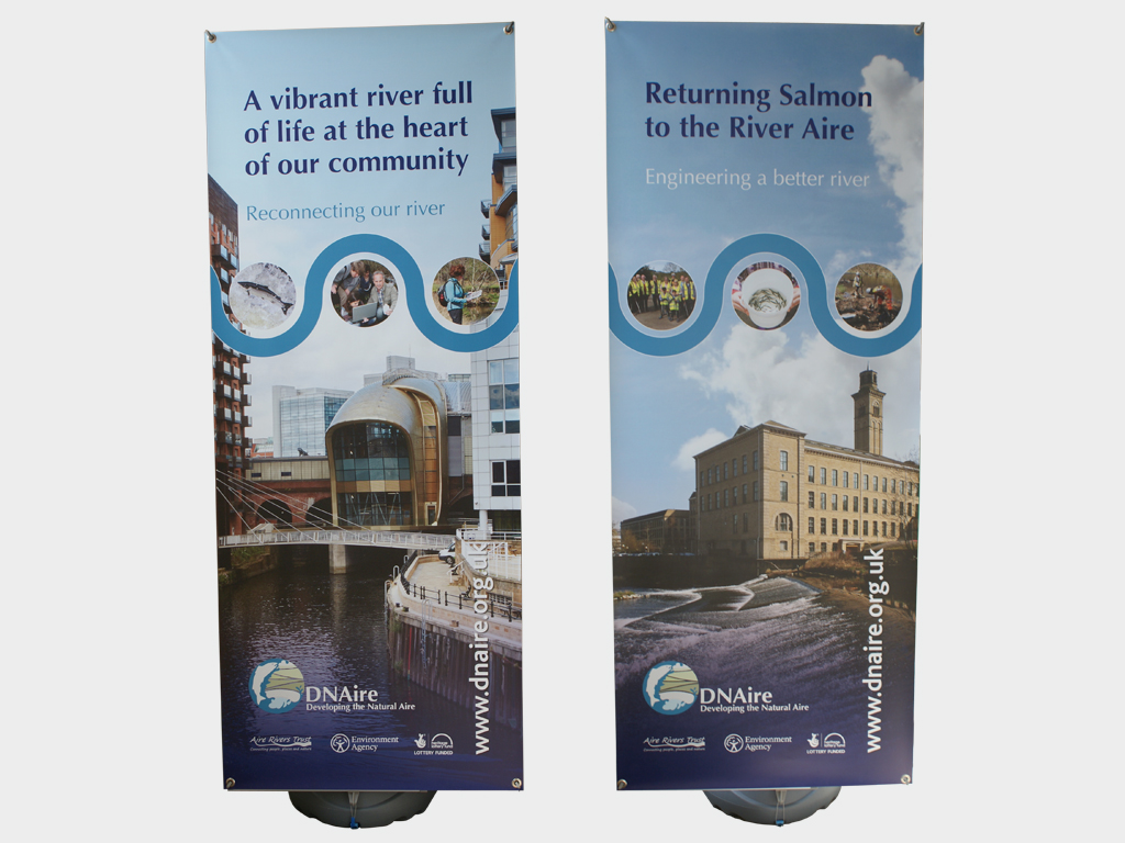 Outdoor pull up weatherproof banner stands, graphic design, branding