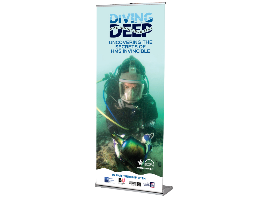 Diving Deep, HMS Invincible, pull up banner, graphic design, branding