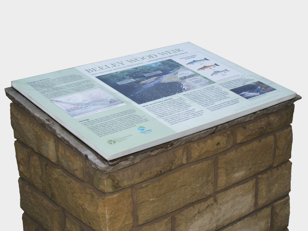 Bespoke, stone built, public information display, cairn display, the Environment Agency, Sheffield, brand consultants, consultancy, graphic design