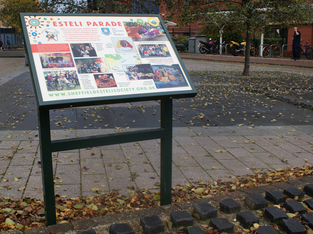 Graphic design, production, brand consultancy, consultants, Three part A1 public Information lectern, installed, Esteli Parade, Sheffield