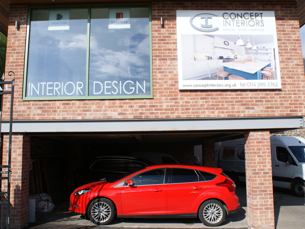 Shop signage, window vinyl, graphic design, Concept Interiors, Sheffield, branding, brand consultants