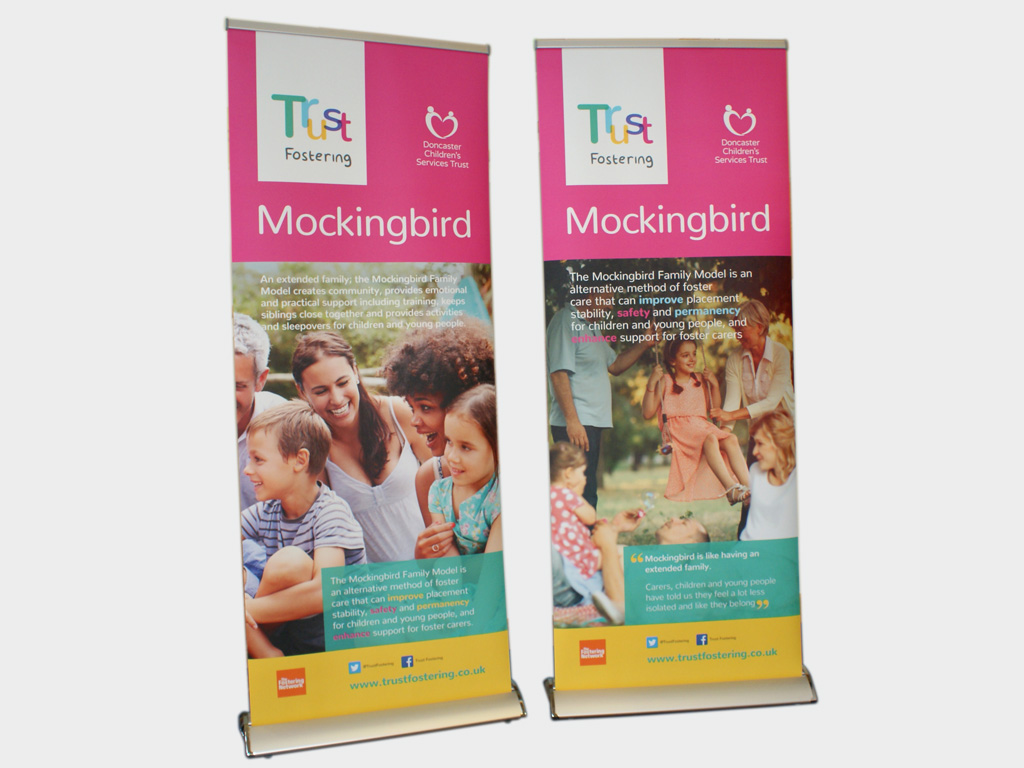 High quality pull up banner stands, graphic design, production, brand consultancy, branding, Sheffield