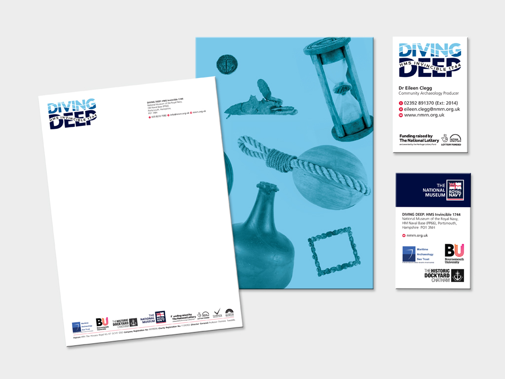 Diving Deep stationery, graphic design