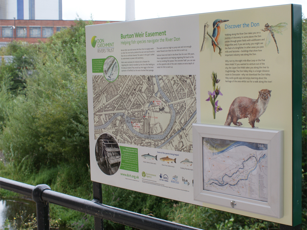 public information display, Burton Weir, fish easement, production, installation, graphic design, branding, Sheffield, bespoke design, locking display