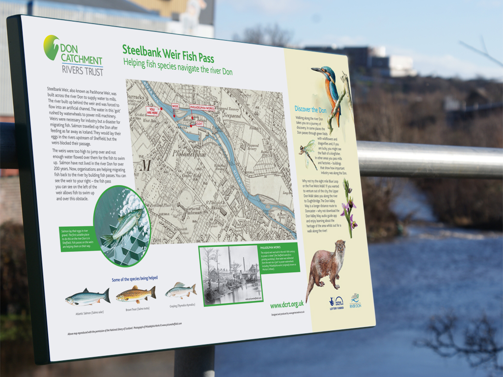 Fish pass, Steelbank, Railing mounted, signage, production, signage design, public information sign, graphic design, brand consultancy, Sheffield