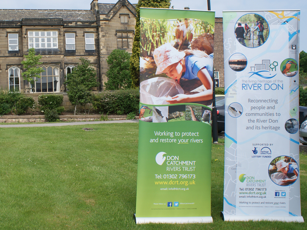 Refurbished / /recycled pull up banner stands for Don Catchment Rivers Trust, Graphic Design, Banner stands, pull up stands, branding