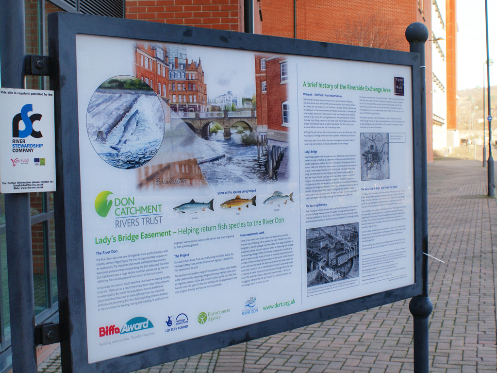 Refurbish, refurb, Refurbished, public information display, fish easement, production, installation, graphic design, branding, Sheffield, Lady's Bridge, bespoke design,