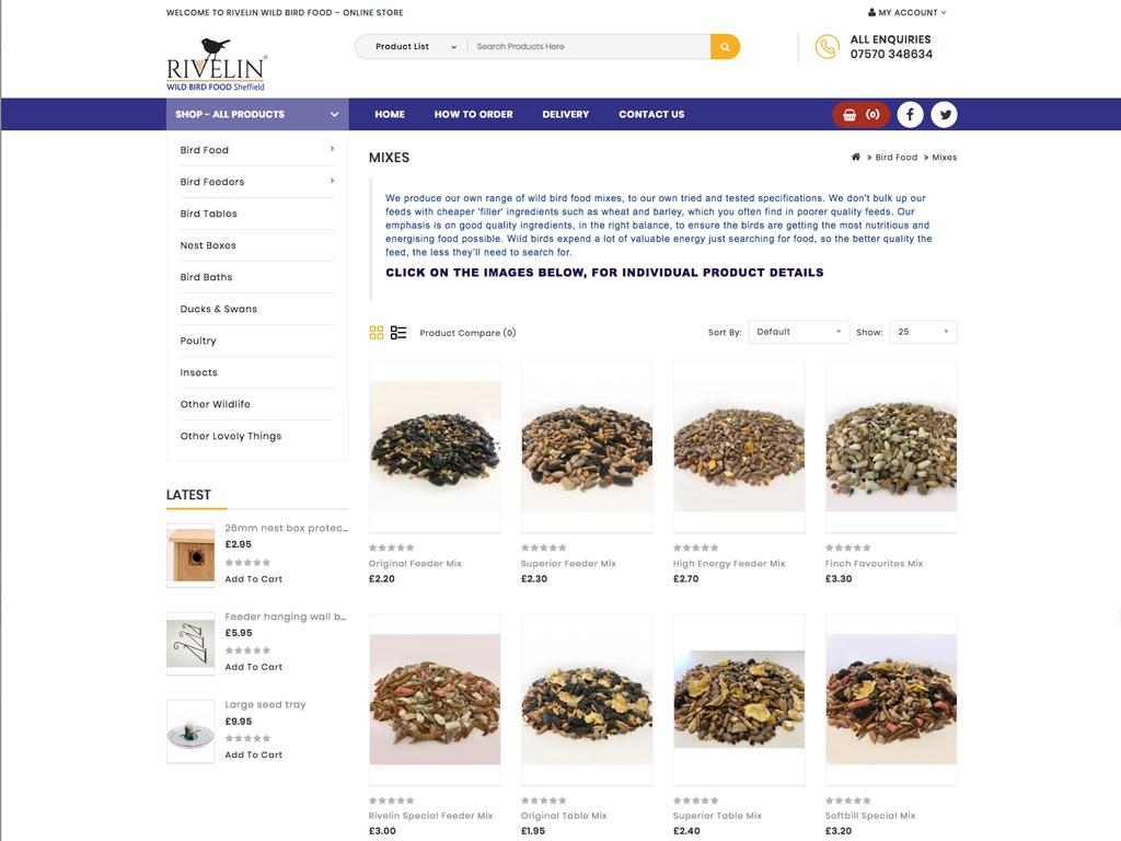 Rivelin Wild Bird Food, e-commerce, fully responsiveWebsite design, Wordpress, SEO, fully responsive, Sheffield, website build, brand consultancy, branding, graphic design