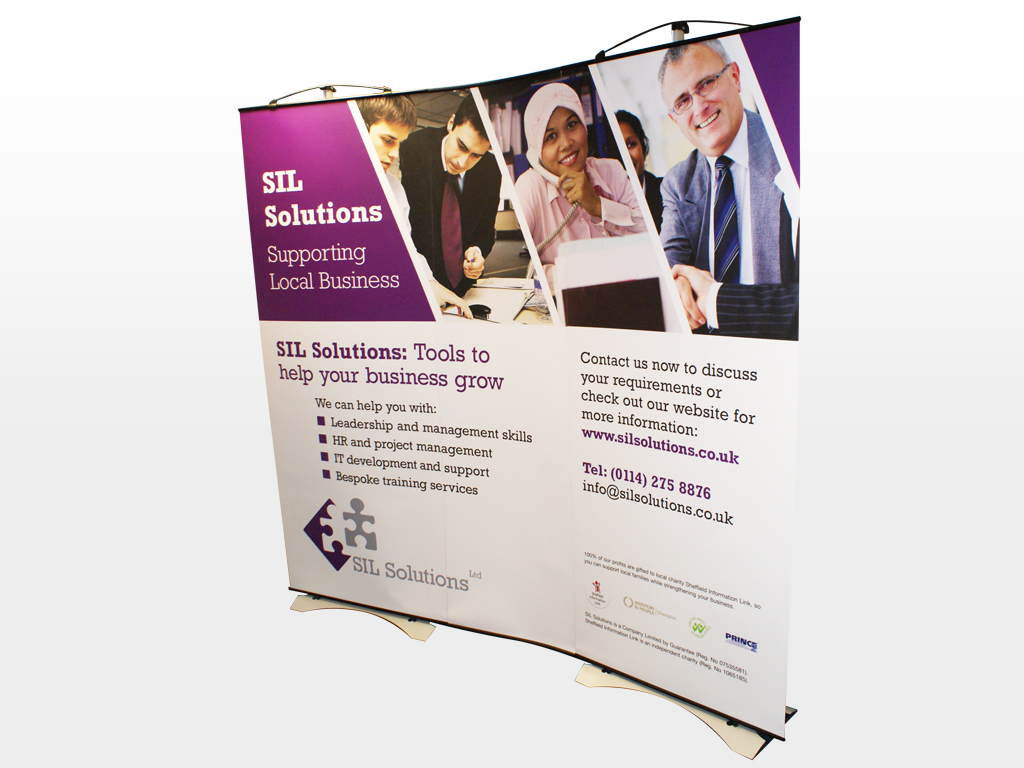 SIL Solutions, pop up banners, pull up banner, graphic design, branding