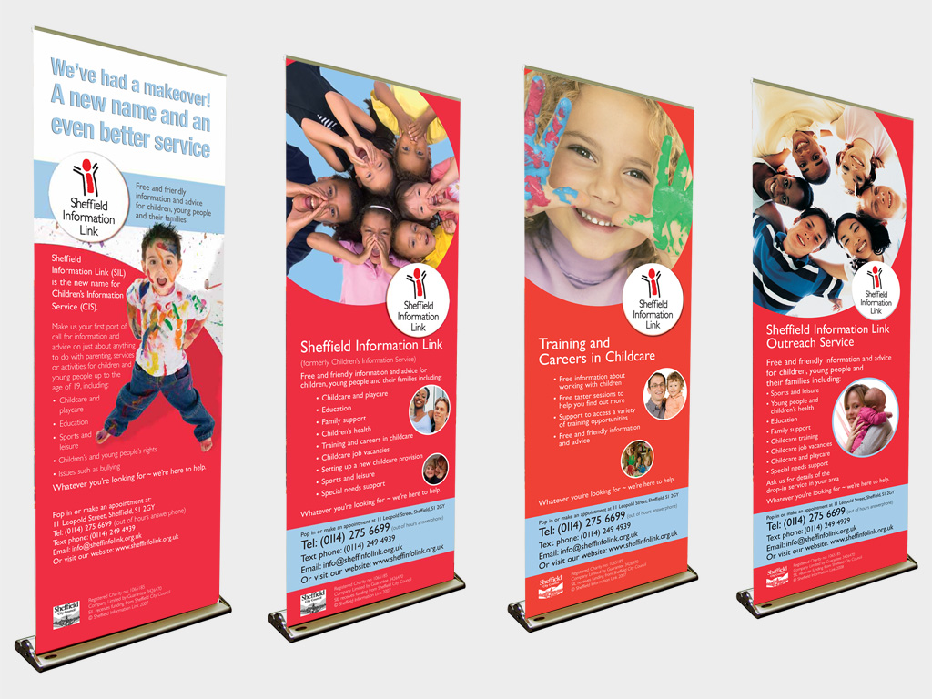 Sheffield Information Link, pull up banner, graphic design, branding