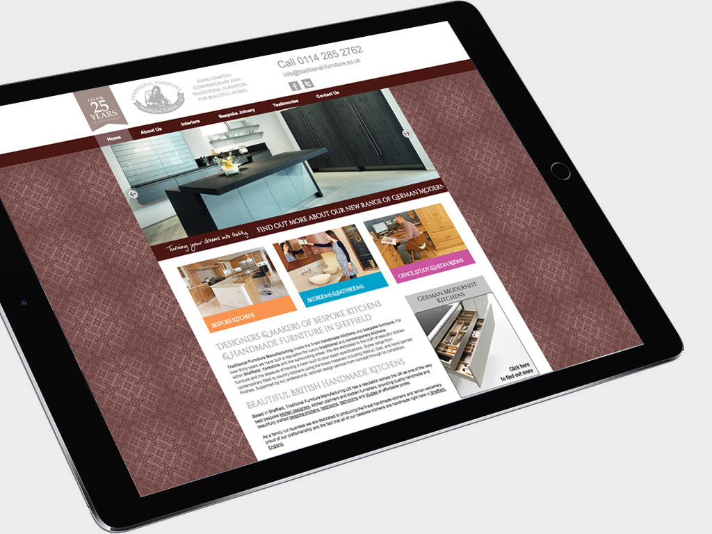 Traditional Furniture Company, Website design, Wordpress, SEO, fully responsive, Sheffield, website build, brand consultancy, branding, graphic design
