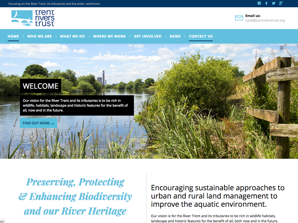 Trent Rivers Trust website design by Genie Creative, Sheffield