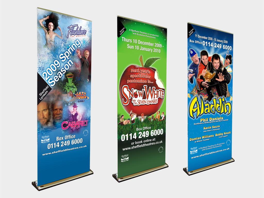 Lyceum Theatre, Sheffield, pull up banner, graphic design, branding