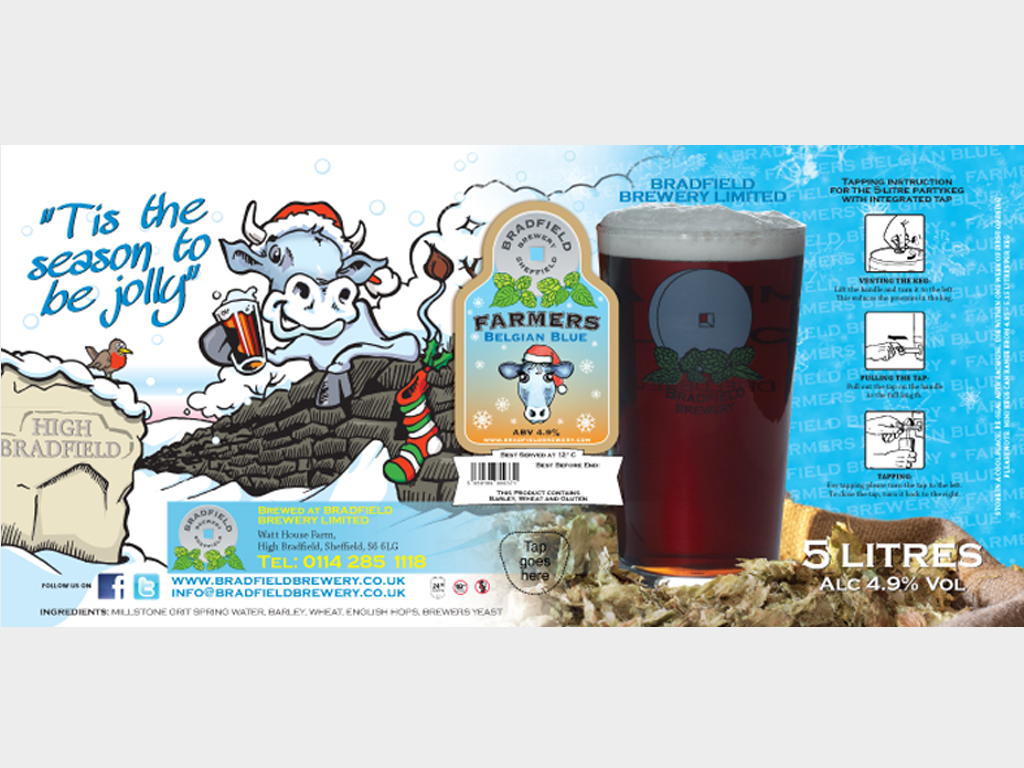 Farmers Belgian Blue mini keg design