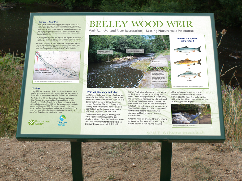 Environment Agency, cairn, mounted, public information stand, signage, graphics, Sheffield, River Don, build, install