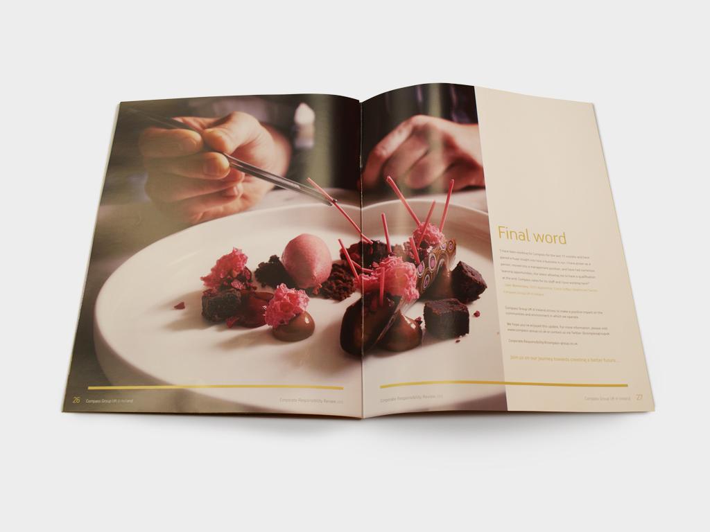 Corporate Responsibility brochure,Compass Group, Graphic design, branding, marketing, Sheffield Concept Interiors