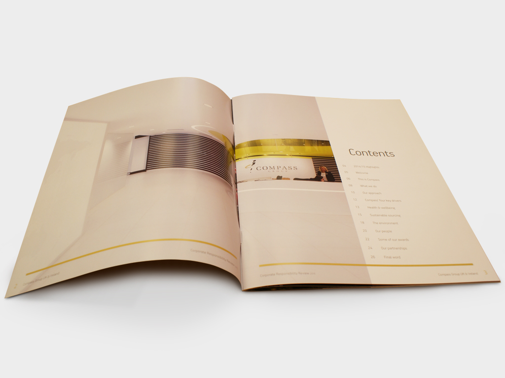 Corporate Responsibility brochure, Compass Group, Graphic design, branding, marketing, Sheffield Concept Interiors
