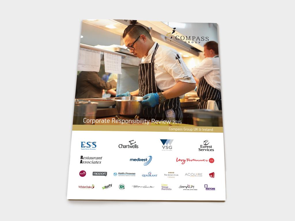 Corporate Responsibility brochure, Compass Group, Graphic design, branding, marketing, Sheffield Concept Interiors