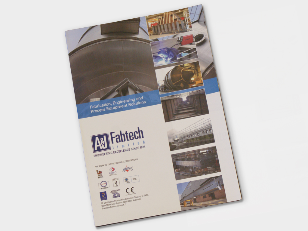 Design, production, corporate, folder, A&J Fabtech, Graphic design, branding, brand consultants, design agency, design for print, Sheffield, Brand development for A & J Fabtech
