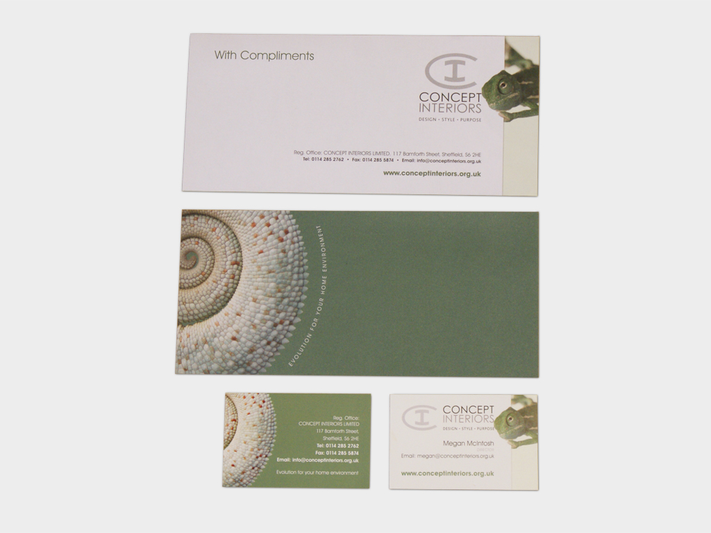 Stationery design, Corporate letterhead, Graphic design, branding, marketing, Sheffield Concept Interiors