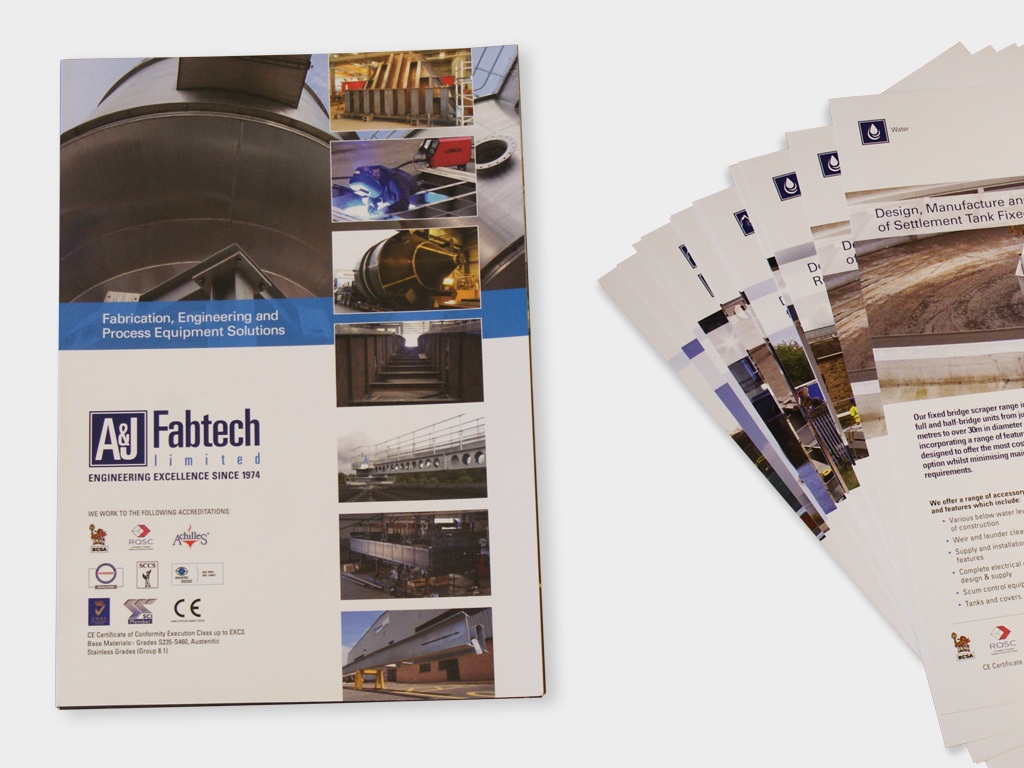 Design, production, corporate, folder, A&J Fabtech, Graphic design, branding, brand consultants, design agency, design for print, Sheffield