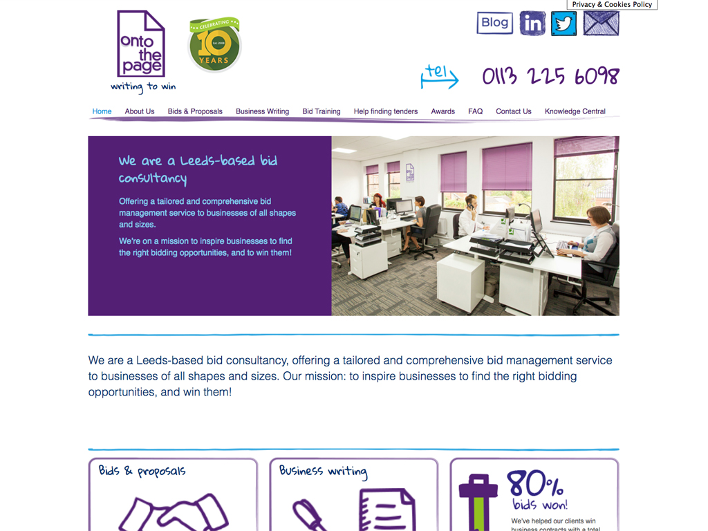 Ontothepage_Leeds_Fully responsiveWebsite design, Wordpress, SEO, fully responsive, Sheffield, website build, brand consultancy, branding, graphic design