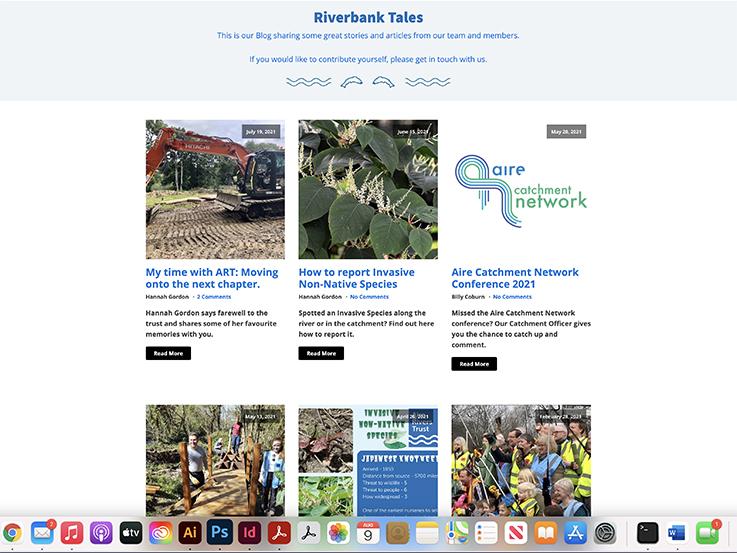 Aire Rivers Trust website design