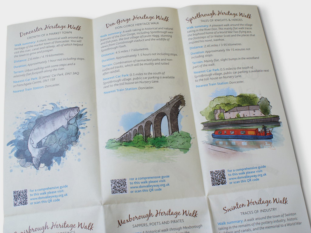 Graphic Design, Illustrated Don Valley Way map leaflet