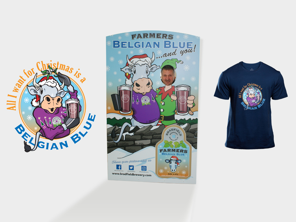 Graphic design, Design of Farmers Belgiam Blue promotional items, branding, T shirt design