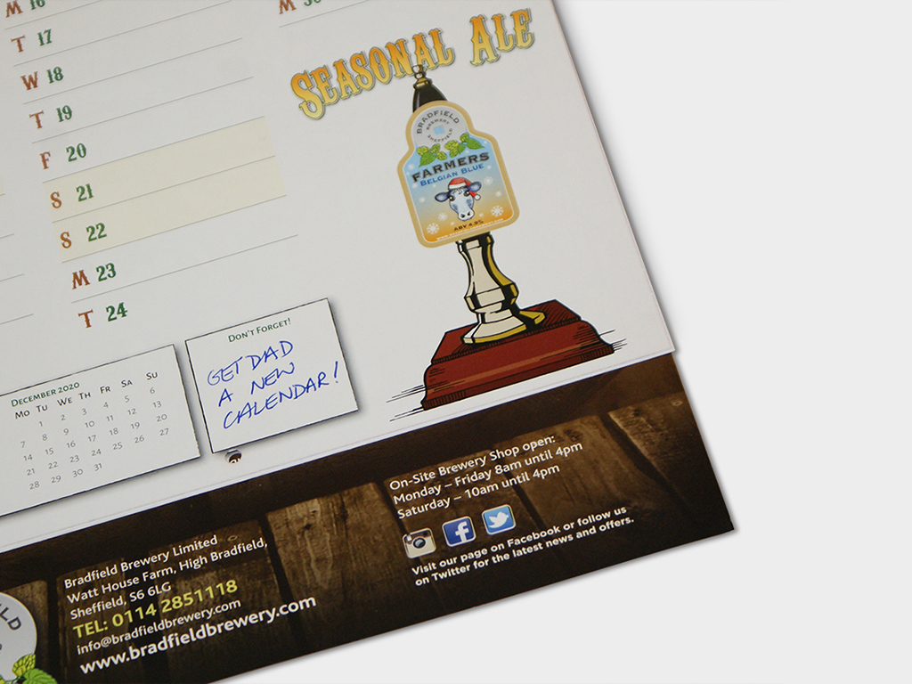 Calendar, graphic design, Bradfield Brewery, marketing, Sheffield