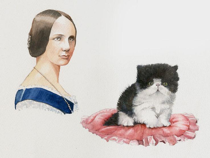 Ada lovelace and cat illustration