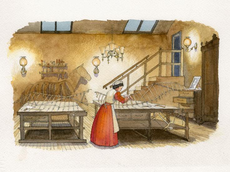 Ada lovelace in her workshop illustration