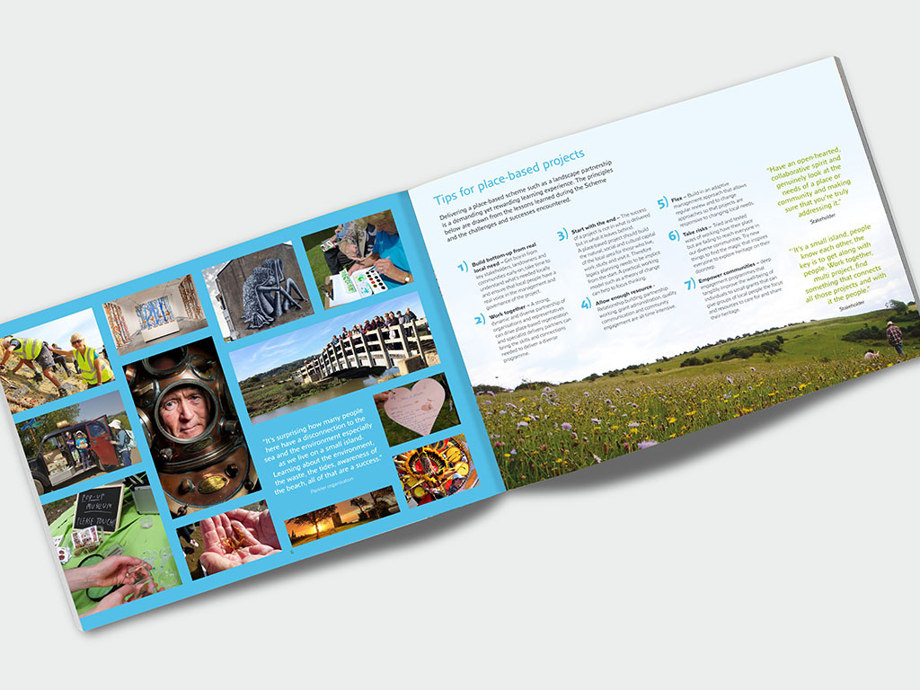 Graphic design of modern brochure for Down to the Coast